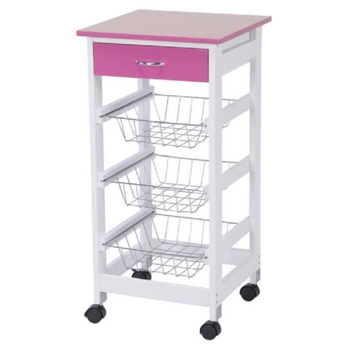 chariot de cuisine sur roues en bois mdf avec 1 tiroir 1 tablette 3 panier 37x37x76 cm blanc. Black Bedroom Furniture Sets. Home Design Ideas