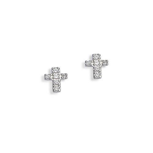Boucles d 39 oreilles argent rhodi zirconium croix achat vente boucle d 39 oreille boucles d - Fermoir boucle d oreille argent ...
