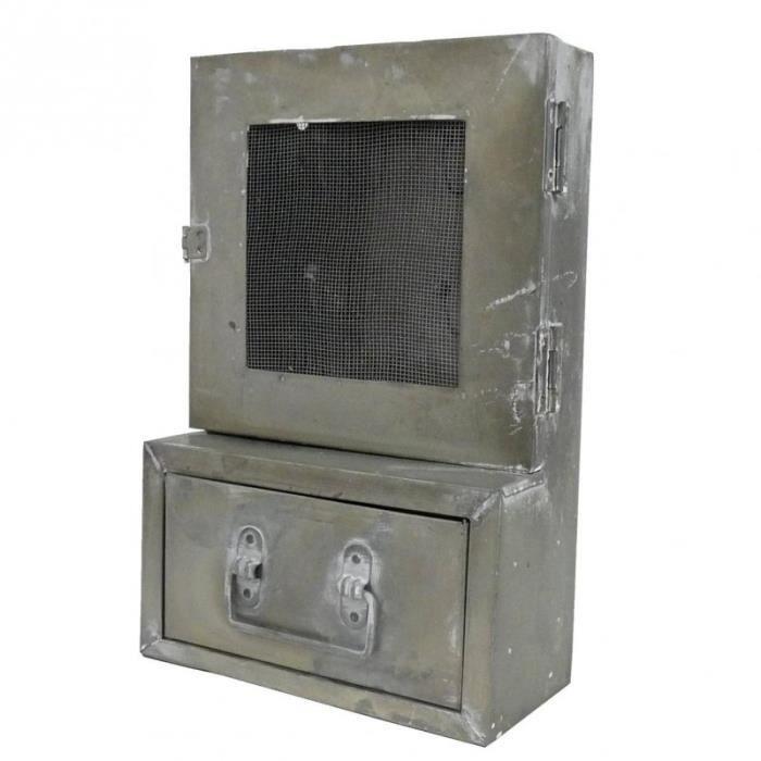 boite cl s clefs et tiroir range courrier etag re d 39 entr e zinc console murale en fer gris 10. Black Bedroom Furniture Sets. Home Design Ideas
