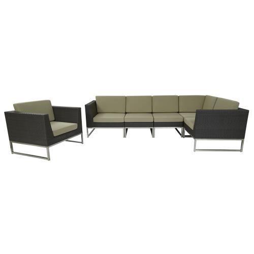 canap d angle et fauteuil en cuir beige natuzzi avec. Black Bedroom Furniture Sets. Home Design Ideas