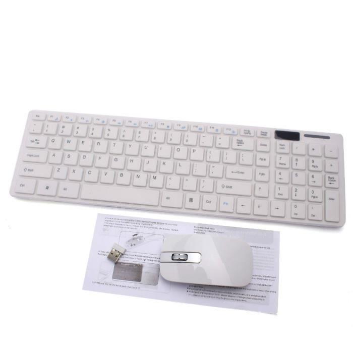 clavier pc 1set 2 4g sans fil blanc m tal souris clavier film kit set pour ordinateur de. Black Bedroom Furniture Sets. Home Design Ideas