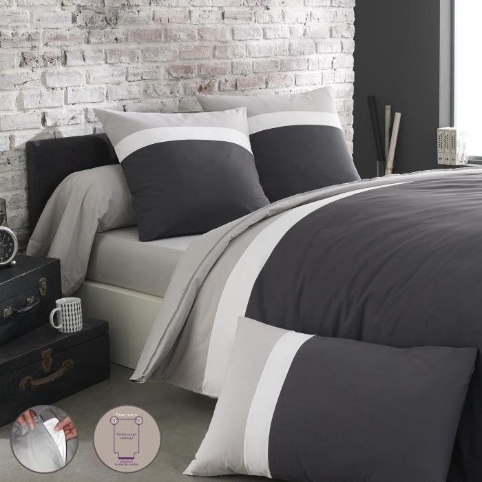 origin parure de lit m li m lo gris 1 housse de couette 240x220 2 taies d 39 oreiller 63x63. Black Bedroom Furniture Sets. Home Design Ideas