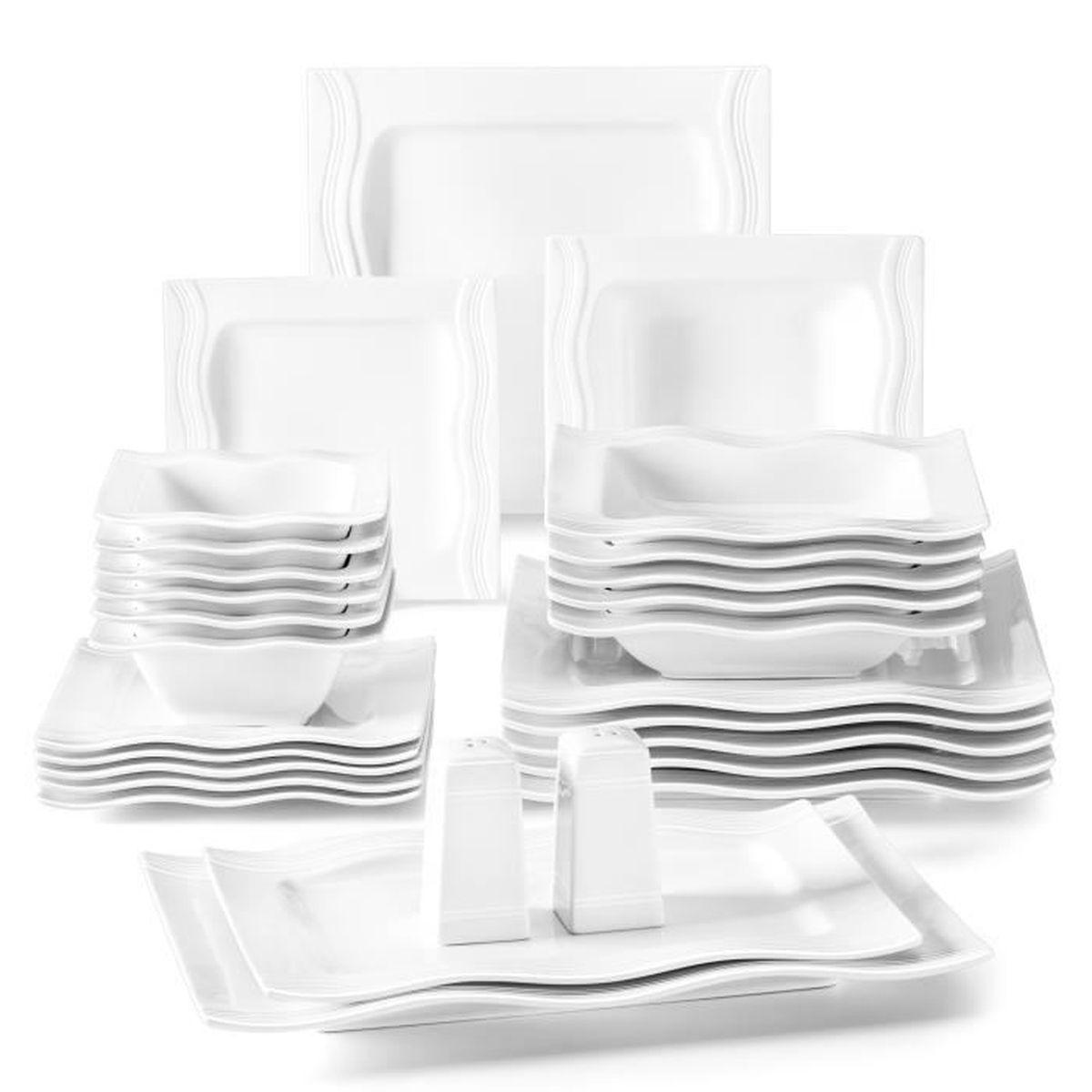 malacasa s rie mario 28pcs service table porcelaine assiette bol sali re poivri re vaisselles. Black Bedroom Furniture Sets. Home Design Ideas