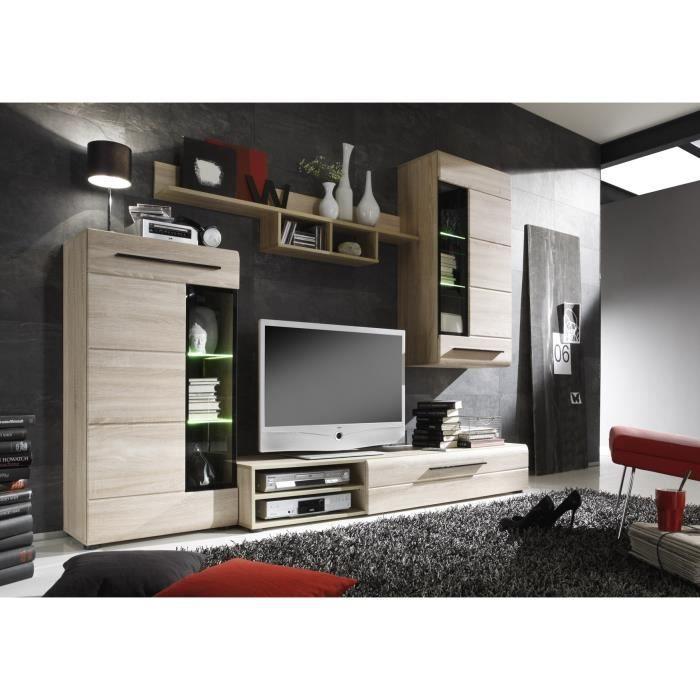 Skin meuble tv mural 235cm avec clairage led d cor for Meuble tv mural kingston