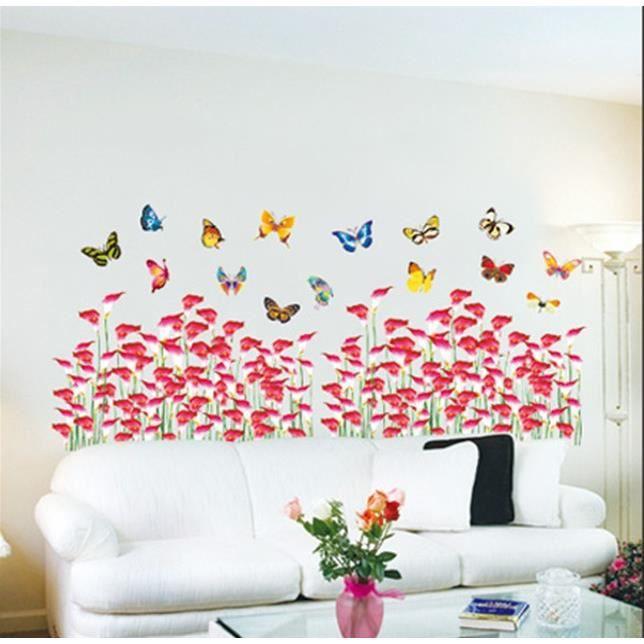50x70cm Amovible Papillon Fleur Autocollant Sticker Mural