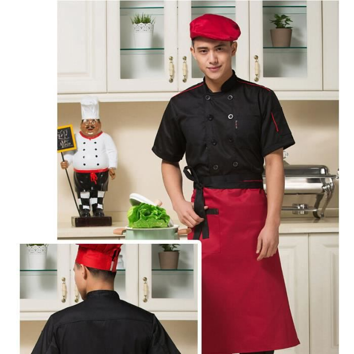 Waiwaizui veste de travail taille xxxl t shirt cuisinier for Tenue professionnelle cuisine