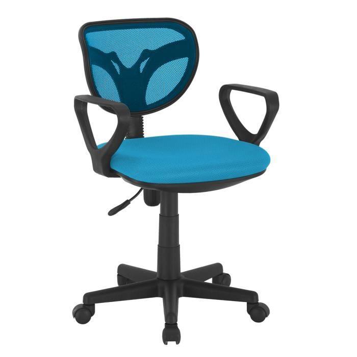 Chaise de bureau avec roulettes coloris bleu achat for Chaise de bureau bleu