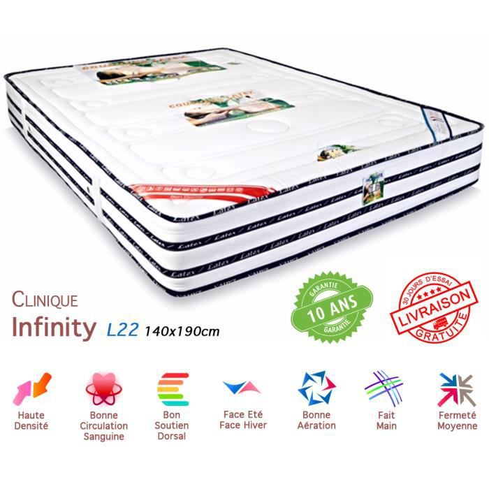 matelas 100 latex infinity 140x190 cms achat vente matelas cdiscount. Black Bedroom Furniture Sets. Home Design Ideas