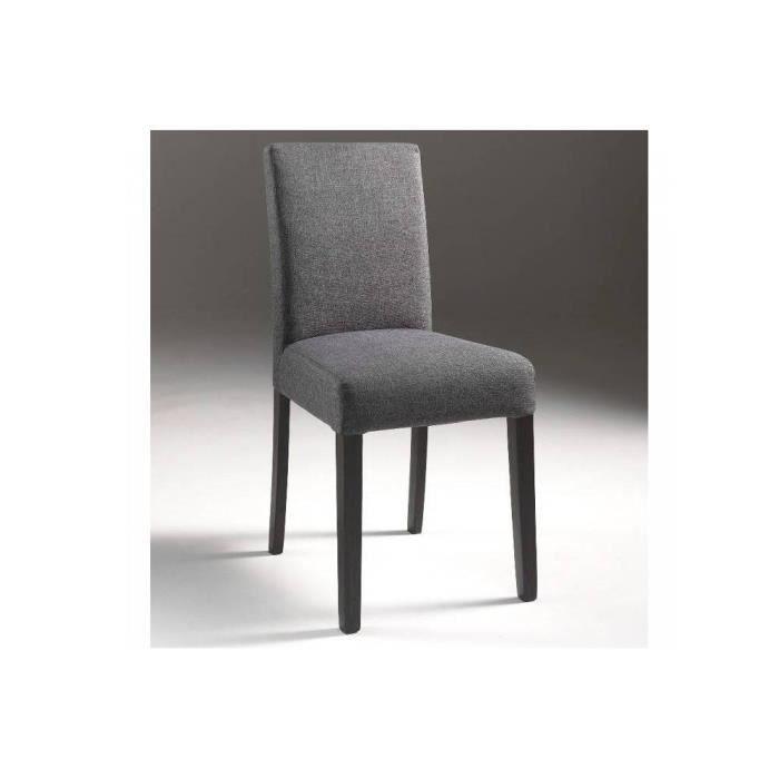Chaise grise savana en microfibres pi tement bois achat for Chaise grise bois