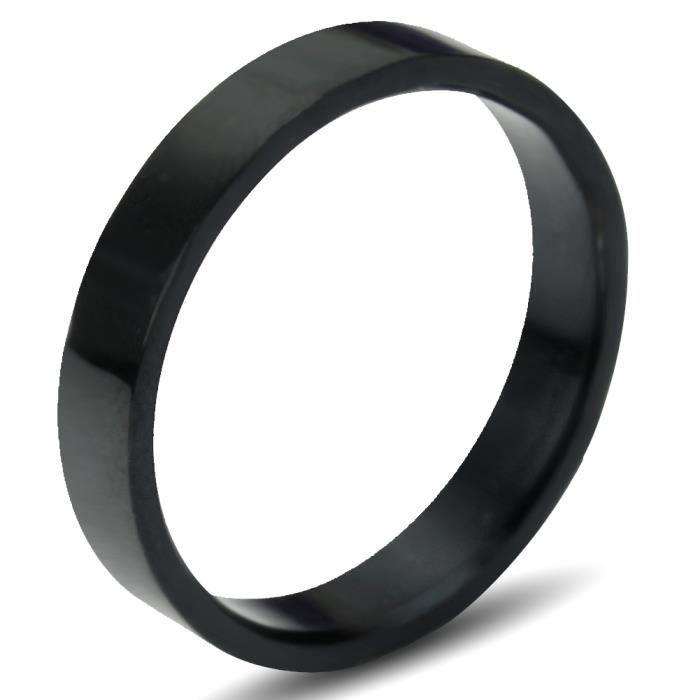 bague anneau titane acier inoxydable noir diam tre