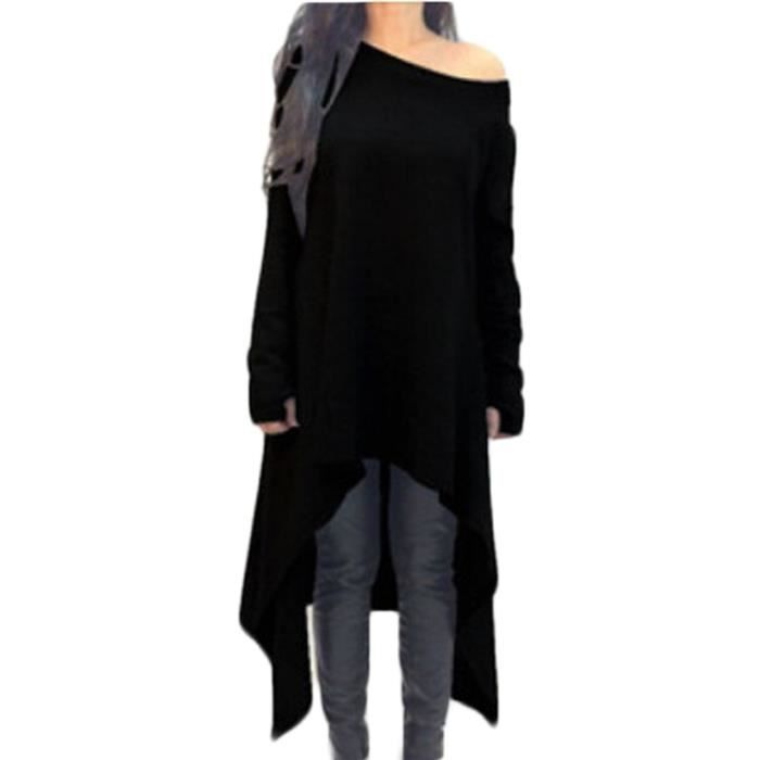 femme longue top manche longue tunique pull ove noir achat vente t shirt cdiscount. Black Bedroom Furniture Sets. Home Design Ideas