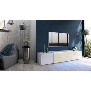 meuble tv creme achat vente meuble tv creme pas cher cdiscount. Black Bedroom Furniture Sets. Home Design Ideas