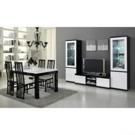 Salle manger compl te roma r 190 laqu e blanc achat for Salle a manger complete blanche