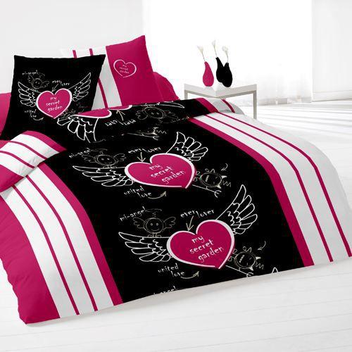 housse de couette et deux taies secret noir achat vente parure de drap cdiscount. Black Bedroom Furniture Sets. Home Design Ideas
