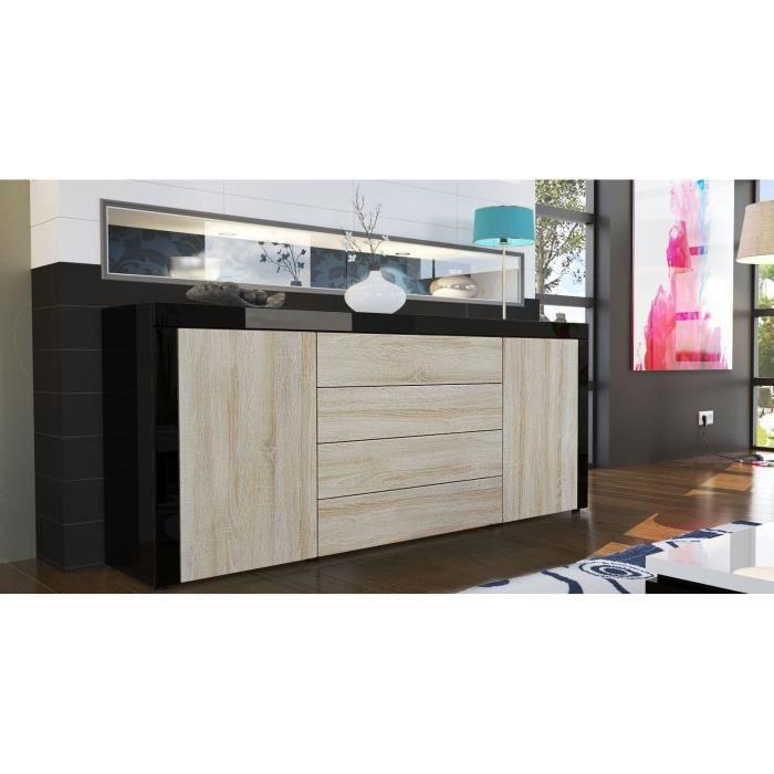 buffet enfilade noir et bois brut au contour noir achat. Black Bedroom Furniture Sets. Home Design Ideas