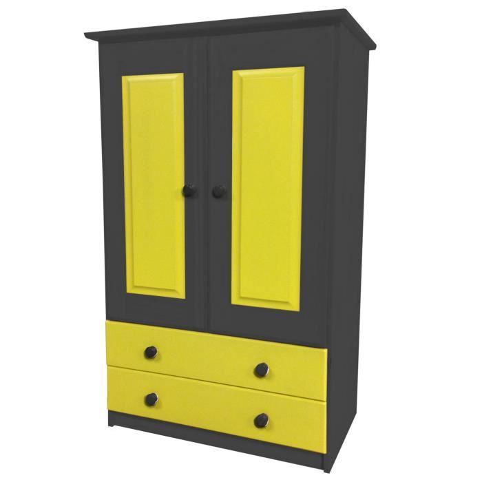 armoire pin massif avec tiroirs et penderie gris