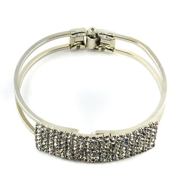 bracelet statement laiton jonc argent strass cadeau femme pas cher articul achat. Black Bedroom Furniture Sets. Home Design Ideas