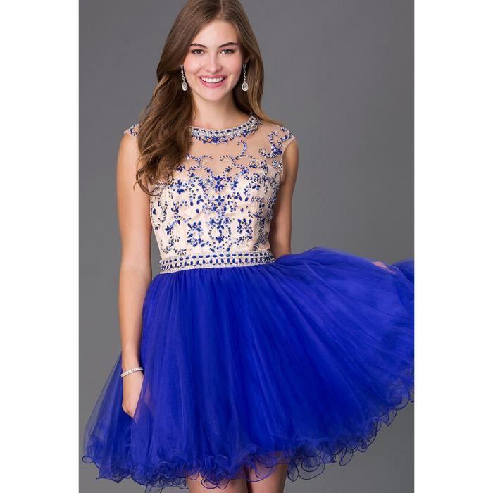 robe de retour courte en tulle robe de soir e des femmes bleu royal robes de soir e perles robe. Black Bedroom Furniture Sets. Home Design Ideas