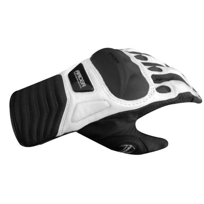 RACER Gants Moto Eté UZZI Noir Blanc Achat / Vente gants sous