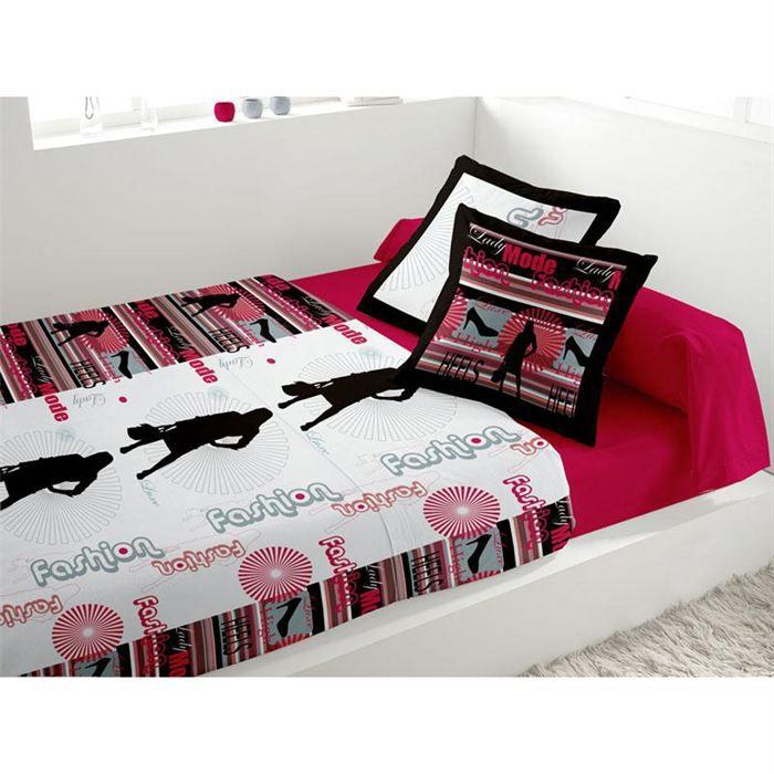 parure de lit 4 pi ces lit 2 pers fashion rouge achat. Black Bedroom Furniture Sets. Home Design Ideas