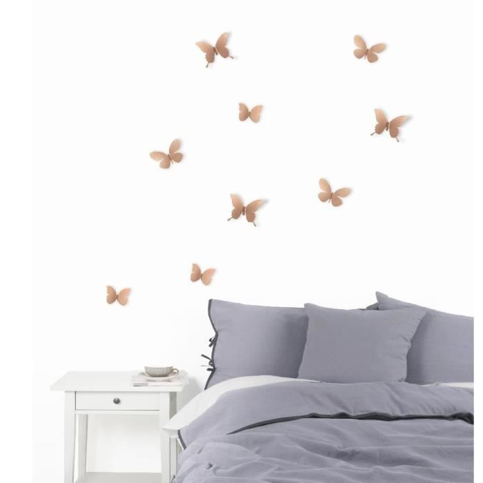 D co murale papillons m tal par 9 achat vente objet for Decoration murale objet