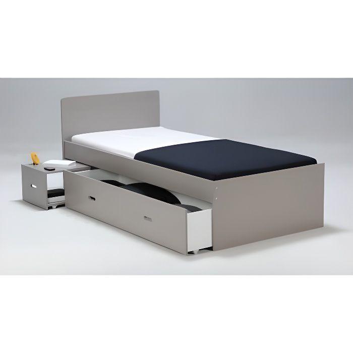 Lit avec chevet et tiroir pacome 90x190cm laqu achat for Canape avec lit tiroir