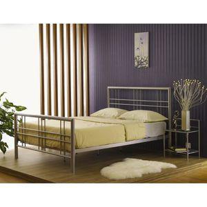 lit metal noir 160 200 achat vente lit metal noir 160 200 pas cher les soldes sur. Black Bedroom Furniture Sets. Home Design Ideas