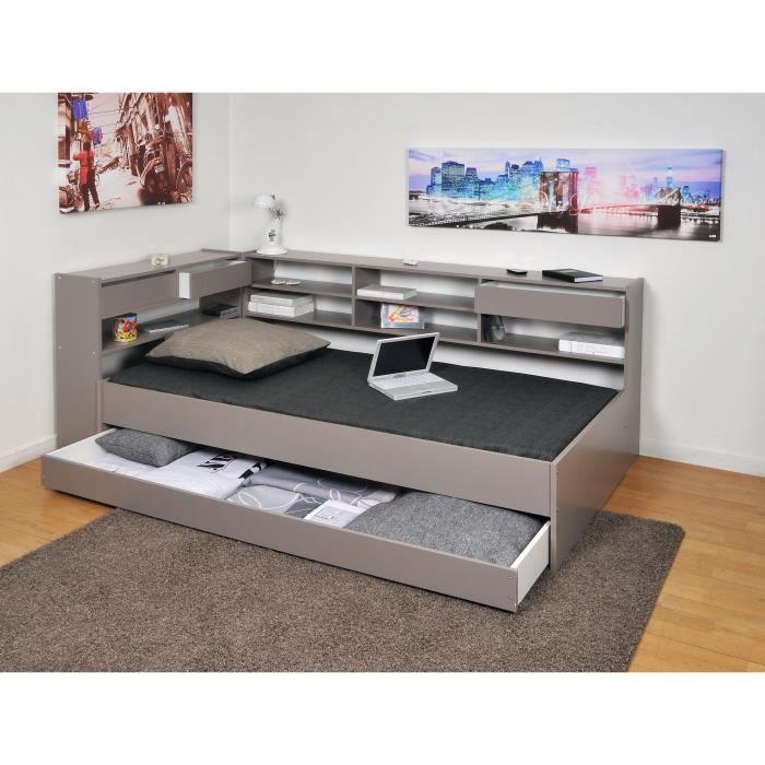 roller lit enfant sommier contemporain laqu gris l 90 x l 190 cm achat vente structure. Black Bedroom Furniture Sets. Home Design Ideas