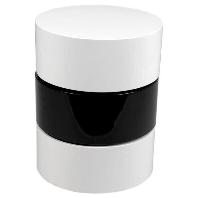 Bout de canap design cylindre de couleur bois brut et blanc amadeus achat vente bout de - Bout de canape bois brut ...
