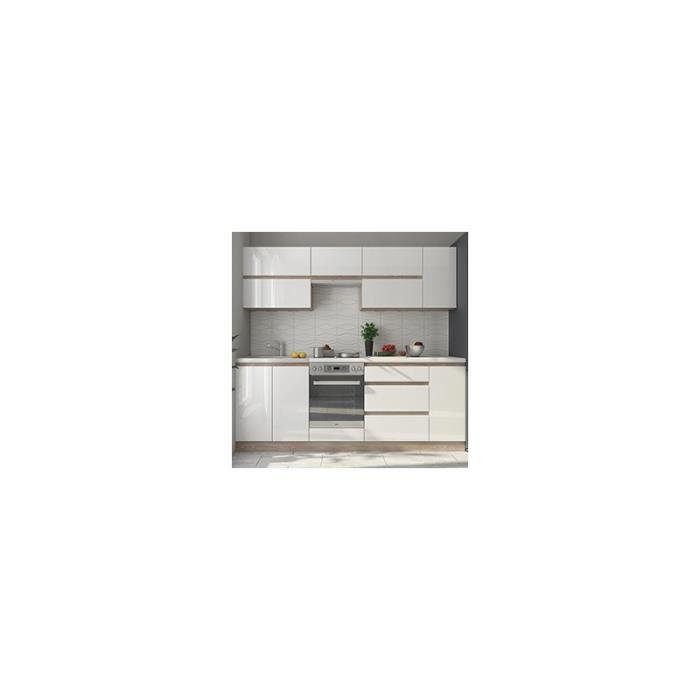 Cuisine compl te design laqu e blanche et bois vision 2 for Cuisine complete blanche