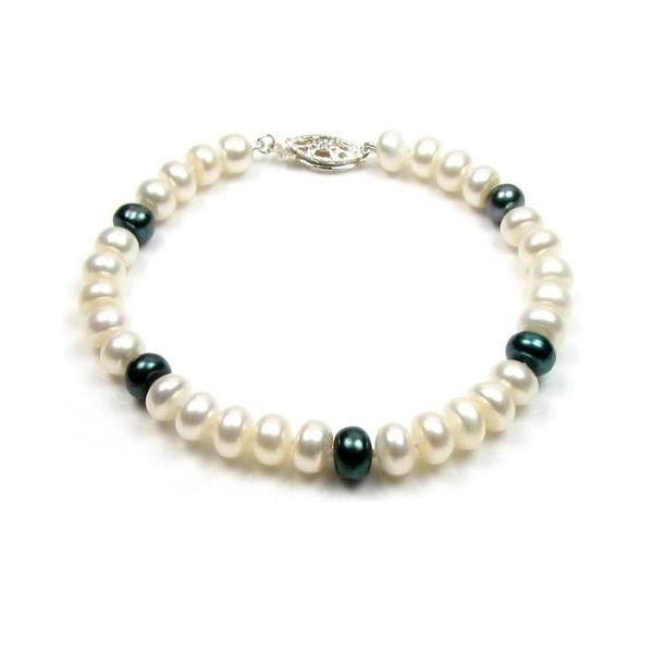 bracelet perles blanches et noires f achat vente bracelet gourmette bracelet perles de. Black Bedroom Furniture Sets. Home Design Ideas