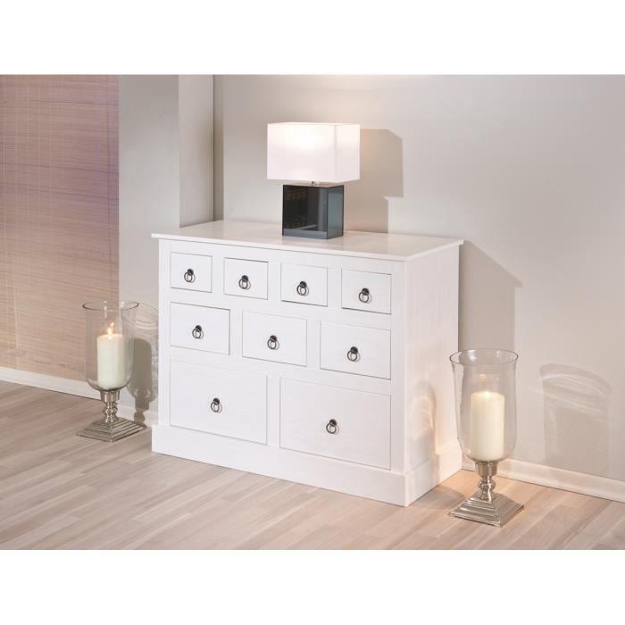 Meuble de rangement blanc rustique en pin massif achat vente petit meuble - Meuble en pin massif blanc ...
