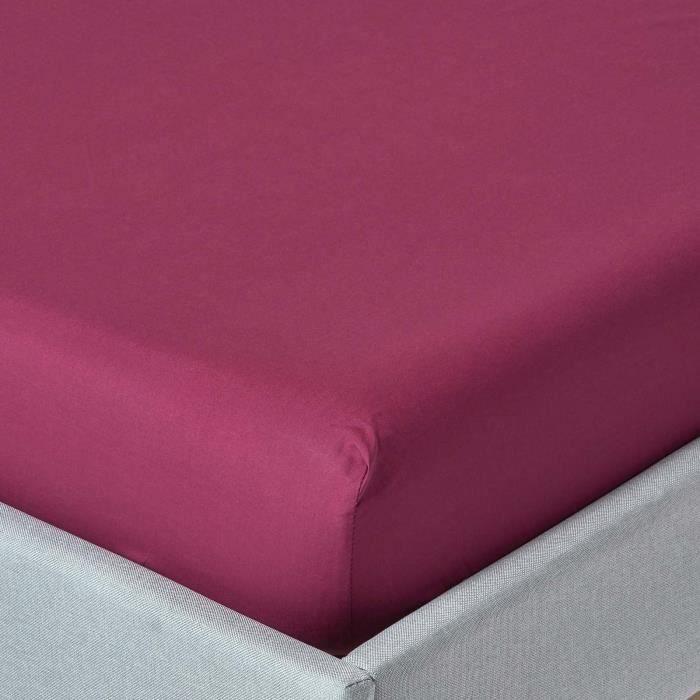 drap housse prune 100 coton 201 gyptien 200 fils 120 x 190 cm achat vente drap housse cdiscount
