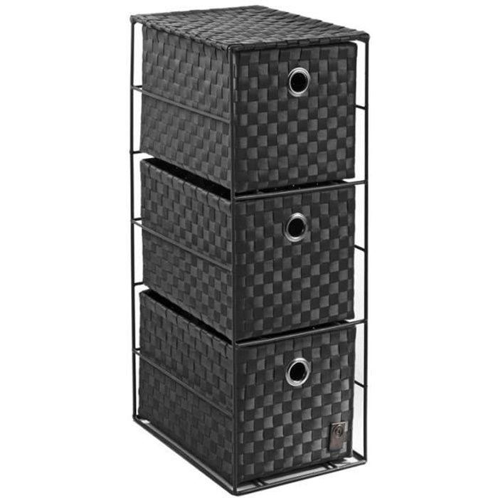 Meuble rangement 3 tiroirs noir paris prix achat for Petit meuble de rangement 3 tiroirs