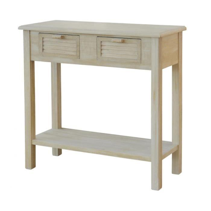 Console en bois vielli 2 tiroirs h77 x p32 x l80 cm achat vente console - Console bois vieilli ...