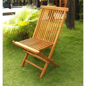 FAUTEUIL JARDIN  Lot de 4 chaises pliantes jardin teck massif huilé