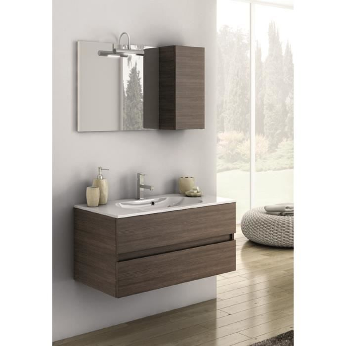 Aura meuble pour salle de bains avec vier et miroir avec for Evier salle de bain avec meuble