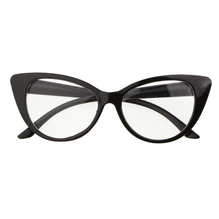 mignon 1x monture de lunette avec verre il de chat noir lentille transparente achat vente. Black Bedroom Furniture Sets. Home Design Ideas