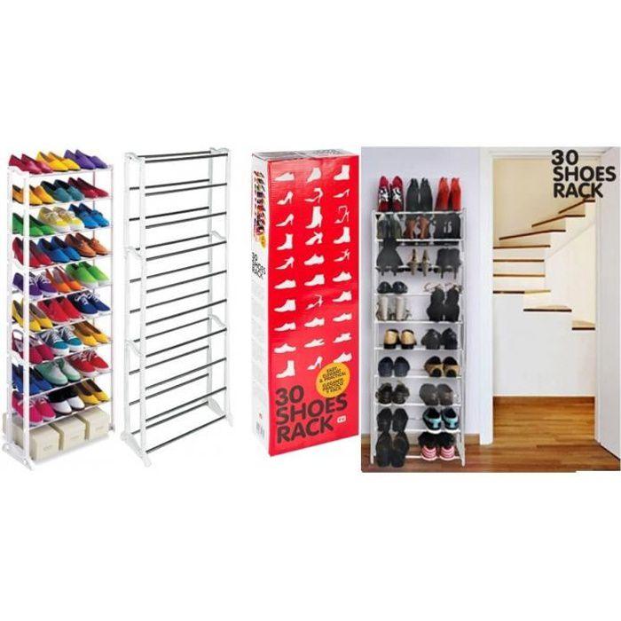 Etagere meuble de rangement pour 30 paires de chaussures achat vente meuble chaussures - Etagere pour chaussure ...