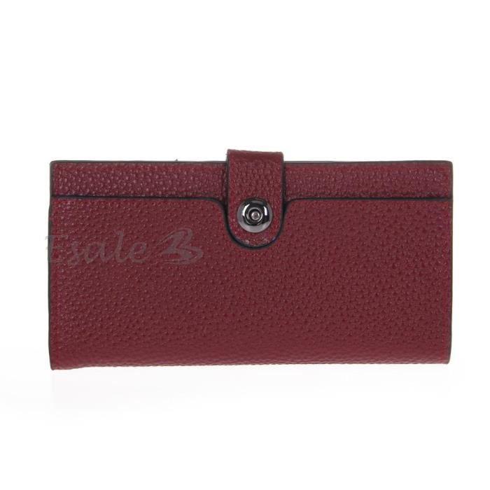 Portefeuille porte monnaie bordeaux en cuir porte carte cr dit cb billet femme rouge achat for Achat porte interieur bordeaux
