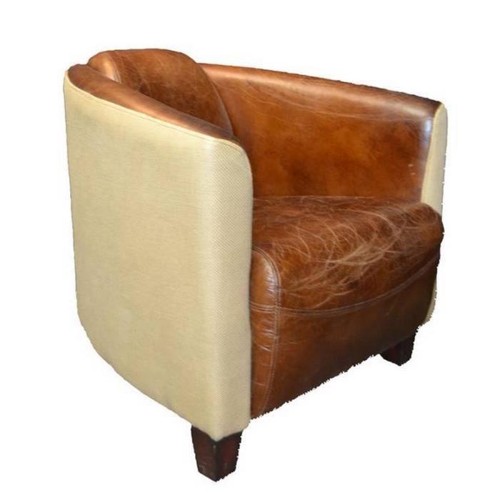 fauteuil club london cuir et jute achat vente fauteuil cdiscount. Black Bedroom Furniture Sets. Home Design Ideas
