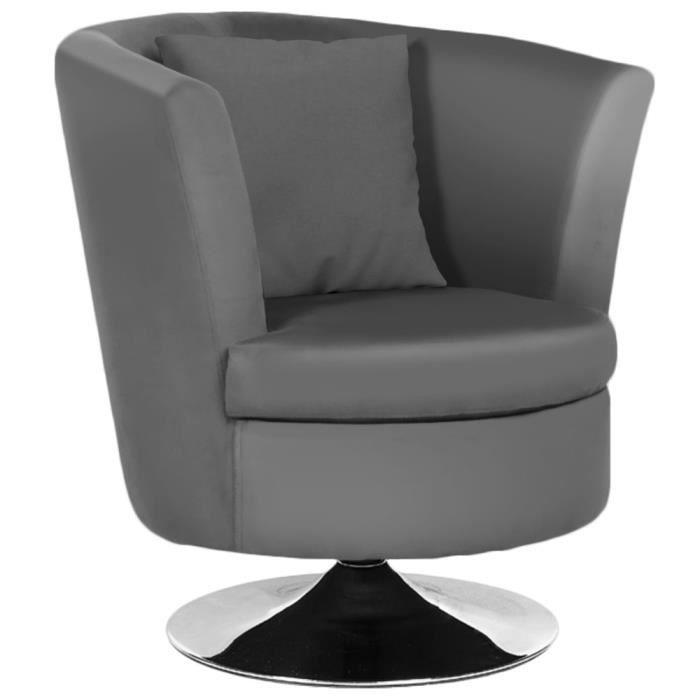 Fauteuil tournant pivotant charlie gris achat vente fauteuil gris cdisc - Fauteuil pivotant gris ...