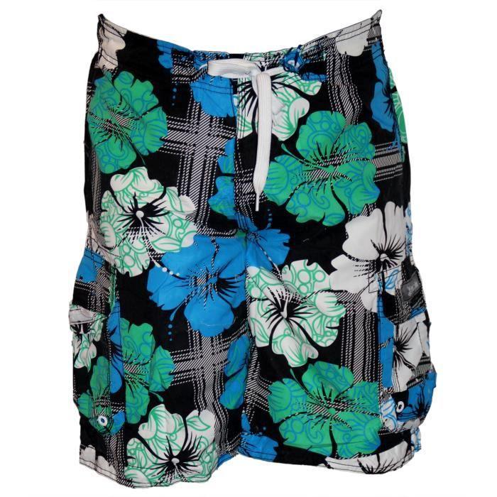 short de bain hawaien d 39 t mylo noir achat vente maillot de bain cdiscount. Black Bedroom Furniture Sets. Home Design Ideas
