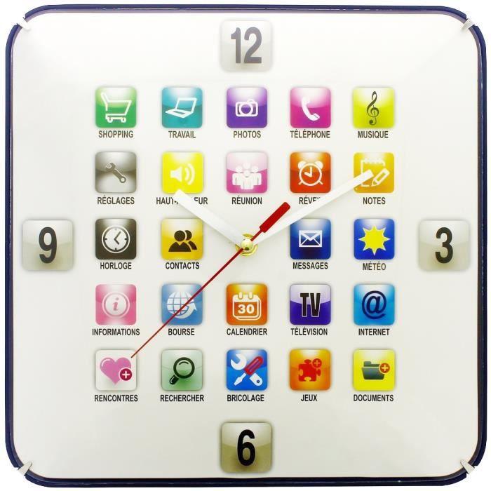 grande horloge pendule murale design appli tablette t l phone tactile achat vente horloge. Black Bedroom Furniture Sets. Home Design Ideas
