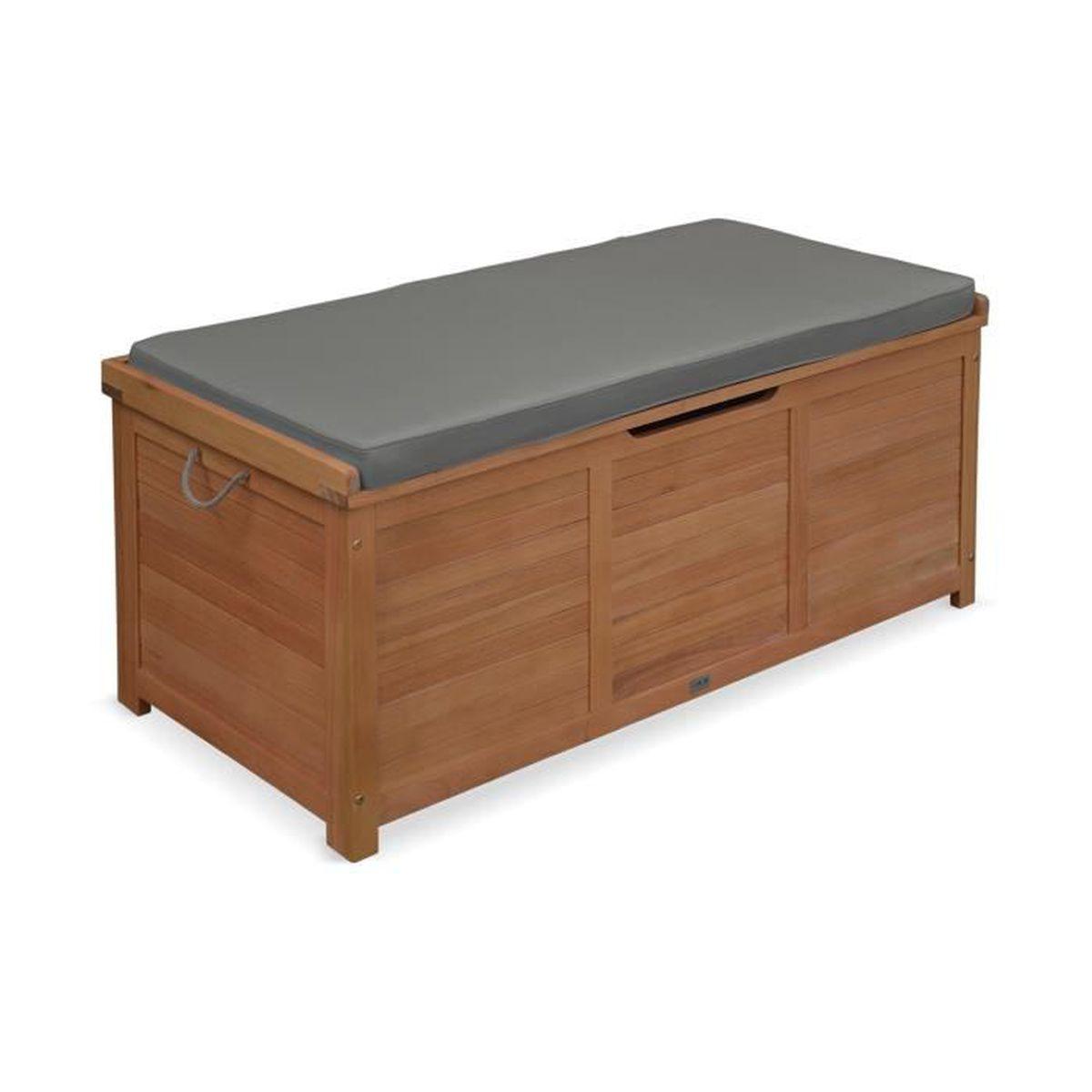 Coffre de jardin caja en bois 125x60cm rangement coussins avec v rin et poign es achat vente - Coffre de jardin bois ...