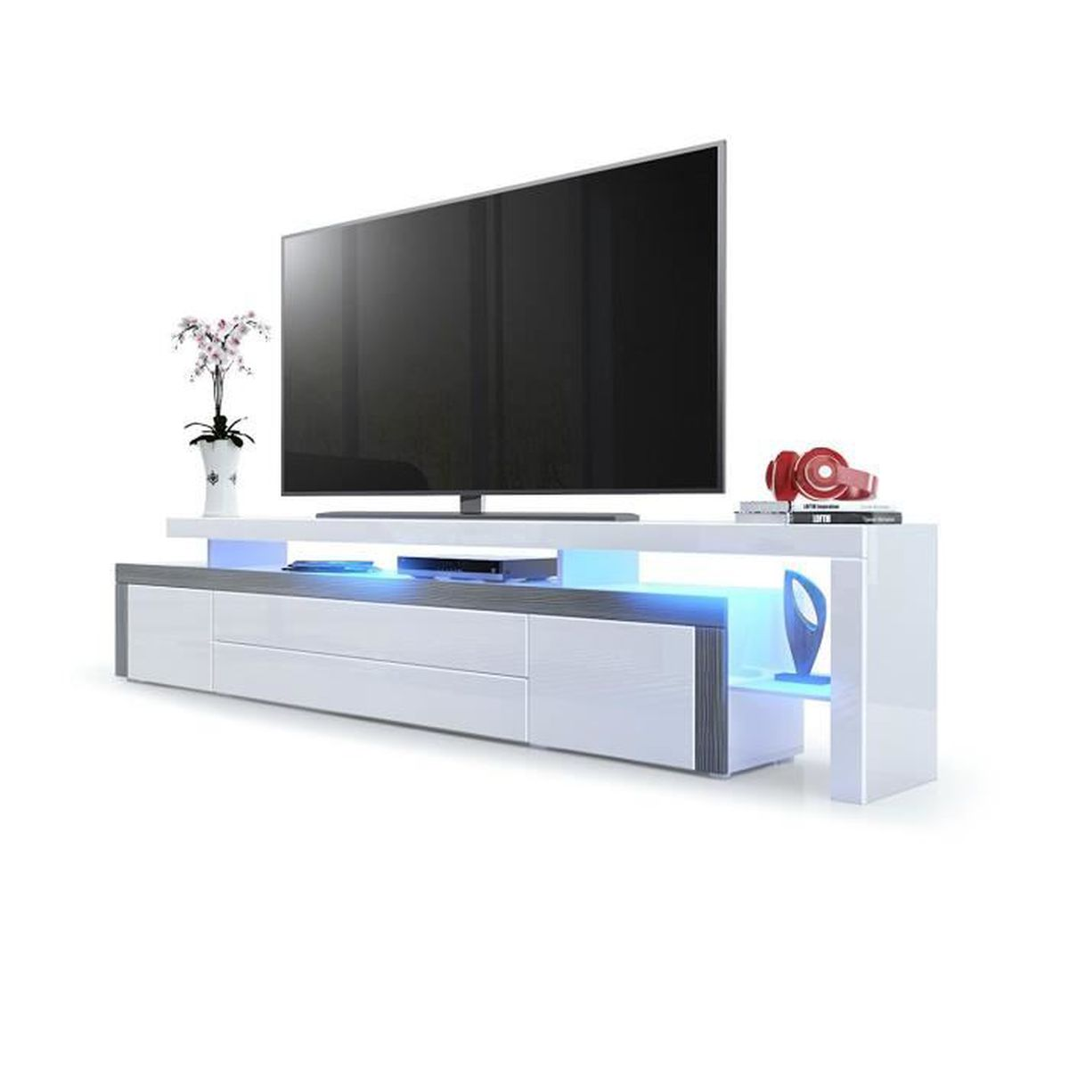 Meuble tv bas corps en blanc haute brillance bordure en - Meuble tv bas blanc ...