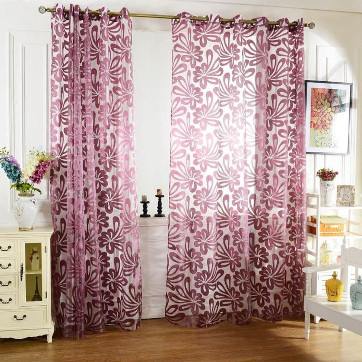 voilage 3d floral porte tulle voile fenêtre simple rideau ...