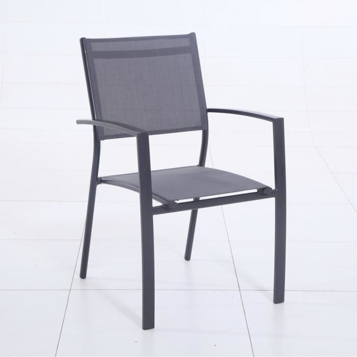 fauteuil de jardin aluminium et toile 59x56x88cm gris achat vente fauteuil jardin fauteuil. Black Bedroom Furniture Sets. Home Design Ideas