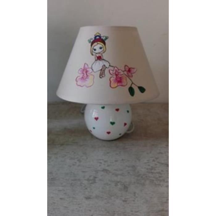 lampe de chevet enfant fille fee fleurs peint main achat vente lampe de chevet enfant fil. Black Bedroom Furniture Sets. Home Design Ideas