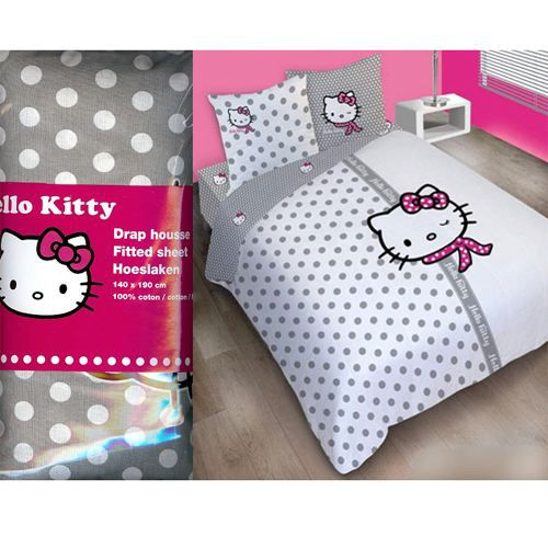 Drap housse hello kitty couture 2 places achat vente - Drap housse 70x140 hello kitty ...